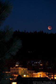 """Lunar Eclipse over Downtown Truckee, CA. - Photograph of the December 2011 lunar eclipse over Downtown Truckee, California. Truckee California, Northern California, Donner Lake, Pacific Crest Trail, Under The Lights, Lunar Eclipse, Lake Tahoe, Small Towns, Around The Worlds"