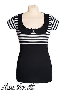 CAITLYN_01 ist ein hübsch Peter-Pan-Kragen-Hemd aus einer schwarz/weiß gestreiften Viskose Jersey kombiniert mit ein solid schwarzer Viskose Jersey gemacht. Weich und komfortabel – perfekt für den Sommer! BEGRENZTE! -Wir werden dieses Produkt schon in kleinen Mengen - Wenn sie
