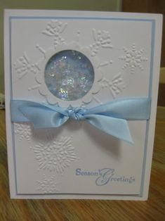 Christmas Card with Shaker Frames and Mica Flakes **** this could easily be a peek-a-boo window