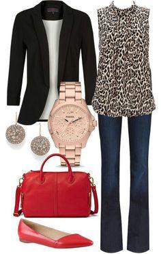 red purse; black blazer; animal print blouse; jeans pants