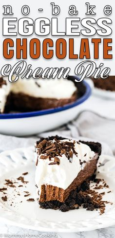 This No-Bake Eggless Chocolate Cream Pie is silky, rich, indulgent, and yet so light and dreamy! Quick and easy to put together. A perfect eggless chocolate dessert for any occasion. #recipe #nobake #eggless #eggfree #chocolate #cream #pie #easy #fromscratch #eggallergy #summerdessert #homemade #easy #best via @mommyhomecookin Great Desserts, Best Dessert Recipes, Summer Desserts, No Bake Desserts, Sweet Recipes, Delicious Desserts, Chocolate Shavings, Chocolate Cream, Chocolate Flavors