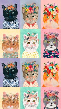 perfect for pet or nursery creations. Illustration Photo, Cat Illustrations, Funny Illustration, Art Mignon, Cat Wallpaper, Fabric Wallpaper, Cat Pattern Wallpaper, Photo Chat, Cat Fabric