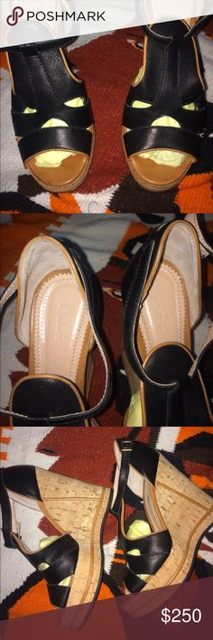 Chloe edge sandals Authentic gorgeous wedges by Chloe , all genuine leather soft and comfy , must see them in person to judge how stunning they are  ,only $200 but I'm open to offers Chloe Shoes Wedges