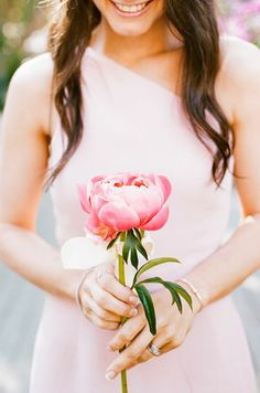 Single-Flower Peony Bridesmaid Bouquet | Brides.com