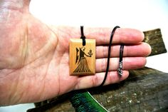 Your place to buy and sell all things handmade Ink Transfer, Wooden Necklace, Virgo Zodiac, Pendant Jewelry, Buy And Sell, Etsy, Leather, Gifts, Handmade
