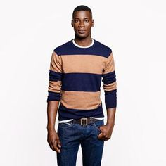 Cotton-cashmere crewneck sweater in heather acorn stripe - cotton-cashmere - Men's sweaters - J.Crew