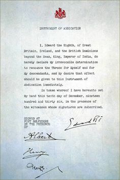 Abdication Document of Edward VIII. he Abdication speech delivered by Edward in…