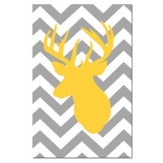 Chevron Deer - Large 13x19 Print - Chevron Design Pattern with Deer Head Silhouette - Choose Your Colors - Shown in Gray, Yellow, and More. $30.00, via Etsy.