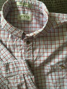 Men ORVIS White Red Blue Plaid XX-Large Shirt L/S  #Orvis #ButtonFront