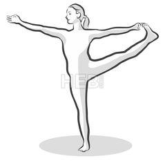 hand drawn thunderbolt vajrasana pose yoga woman in 2020