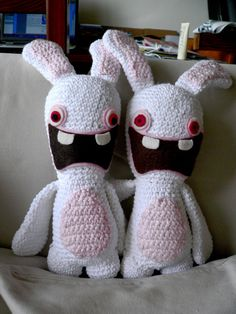 Oh Ma Gosh!!! Raymond's Rabbids!!! I wish I knitted better! These are awesome!