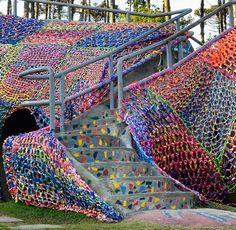 Agata Olek, Crocheted Jacaré, 2012 #FIBERart