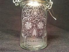 Day Of The Dead Sugar Skull  Hand Engraved Glass Stash Jar