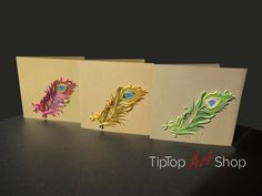 Set of 3 Quilled Peacock Greeting Cards - Paper Quilling Handmade Peacock Feather; Blank Cards Set; Personalized; OOAK
