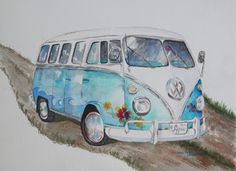 Watercolor of vintage VW hippie van. http://www.louannoverman.blogspot.com