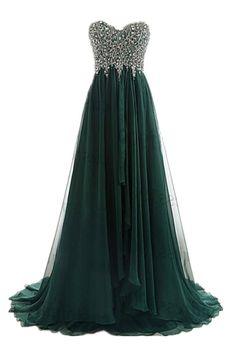 A Line Strapless Sweetheart Long Dark Green Chiffon Beaded Prom Dress