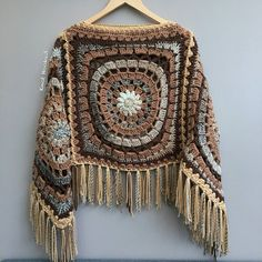 Rainbow Crochet Poncho Fringe, Plus size Festival poncho Pride, Triangle Shawl Wraps, Poncho Women Mom-Birthday-Gift-from-Daughter-For-Her Gilet Crochet, Crochet Baby Cardigan, Crochet Poncho Patterns, Crochet Shawls And Wraps, Crochet Jacket, Knit Crochet, Crochet Stitches, Crochet Triangle, Crochet Squares