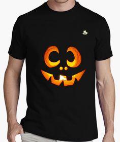 Camiseta Halloween · Calabaza sonriente Camiseta hombre clásica, calidad premium…