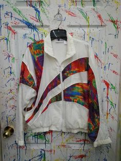 Vintage 80's windbreaker jogging swish zip up jacket for both men and women size Small Medium White Multicolored Design Reebok 1980s by RagsAGoGo, $28.00