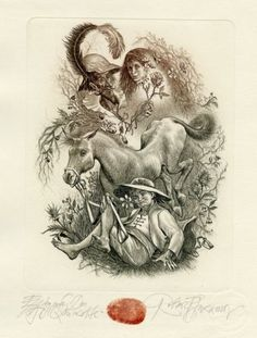 Don Quixote,  Ex libris by Robert Baramov
