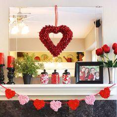 Valentine's Day Mantle display