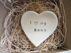 Nana Gift ring dish  wedding ring holder I love by MomologyPottery, $14.00