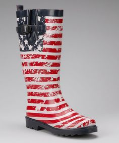 Take a look at this Navy American Flag Rain Boot - Women by Capelli New York on @zulily today!