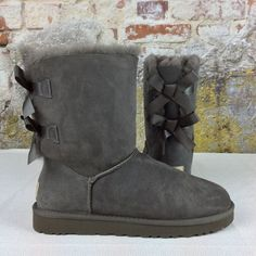 Ugg Australia Classic Bailey Bow Grey Gray 1002954 Women Suade Boot NEW Size 7 #UGGAustralia #FashionMidCalf