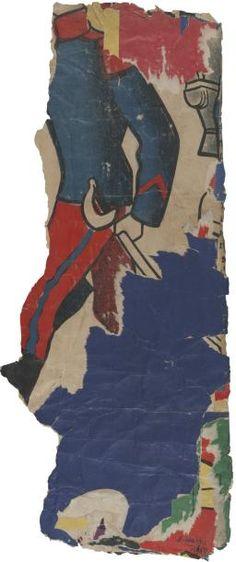 Raymond Hains (1926-2005) Jacket, 1960 Affiches lacérées, décollage signé et daté en bas à droite 56 x 24 cm