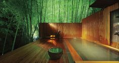 Onsen in bamboo forest