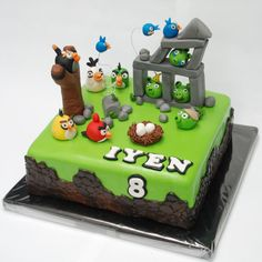 Angrybirds cake for a little boy who became 8 years old last sunday