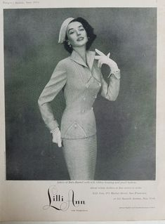 d8b1836e2 1953 LILLI ANN women's Fabric of Italy flannel Suit Vintage fashion ad