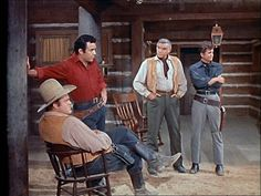 THE   CARTWRIGHT 'S   ON  BONANZA IN   A  SCENE   FROM  THE  OUTCAST  EPISODE   WITH  GUEST  STAR   JACK  LORD   IN  1959