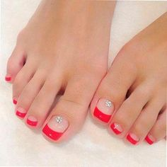 Feet nails, toe nails red, french toe nails, french tip toes, colorful Pretty Toe Nails, Cute Toe Nails, Fancy Nails, Toe Nail Art, My Nails, French Toe Nails, French Toes, Manicure E Pedicure, Pedicures
