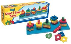 Lauri Toys Shape and Color Sorter by Patch Products. $11.89. Amazon.com                Circles, squares, triangles, hearts, and stars! Little ones will delight in their ability to sort and stack these colorful, spongy shapes on glossy wooden pegs. The Shape and Color Sorter helps preschoolers and kindergartners learn the essential skills of hand-eye coordination, shape and color recognition, and sorting. Brightly colored and fun to touch, the 25 crepe rubber piece...