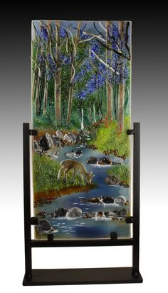 "Taking a Quick Sip, 17"" x 8"", with display stand.  Fused glass using various forms of glass, torch and cold working. Fused Glass, Stained Glass, Art Studios, Art Gallery, Cold, Display, Landscape, Interior Design, Nature"