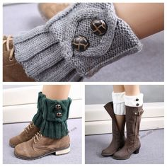 9 colors knitted leg warmers for women Fashion Short Button Down Boot Cuffs High Quality gaiters Boot Socks Crochet Leg Warmers