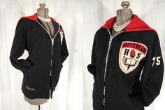 1970s Coat// Varsity Jacket// Black Letter Jacket// High School Letterman Coat// Black Red Coat// Wool Hoodie Coat// Stadium Jacket// L XL by RockabillyRavenVtg on Etsy