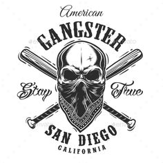 Gangster Emblem with Skull in Bandana #gang #street Download : https://graphicriver.net/item/gangster-emblem-with-skull-in-bandana/19392436?ref=pxcr