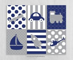 Navy and Gray Nursery Art Prints Set of 6 Plane Train Car