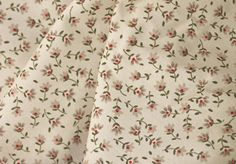 """45"""" Cotton Print, Small Floral, Grey/Brown Flowers with Red Centers and Green Stems on a Off-White Background (6-23-14)"""