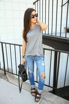 The HONEYBEE: Muscle Tee Chic with casual sandals birkenstocks