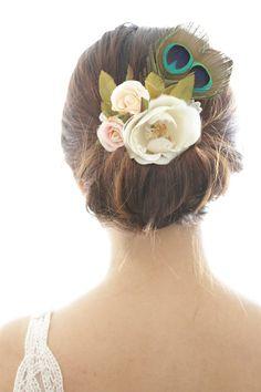 Peacock Bridal Hair Accessory Vintage by MissHanaFloralDesign