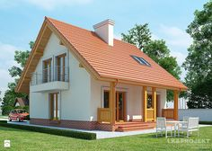 Village House Design, Village Houses, Wooden House Design, Modern Bungalow House, Attic House, Home Ceiling, Cottage Style Homes, Tiny House Plans, House Roof