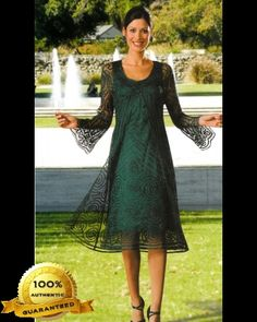 Soulmates D8152 Crochet Beaded Silk Lace 2 pc Duster Dress - Mother of the Wedding