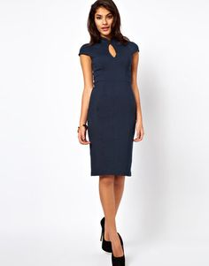 ShopStyle: Pencil Dress with Oriental Neck