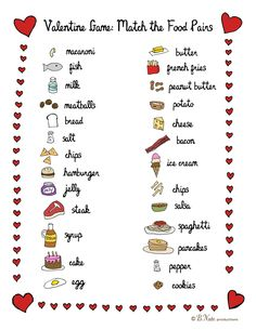 valentine food pair game.  We go together like:... Chips and salsa