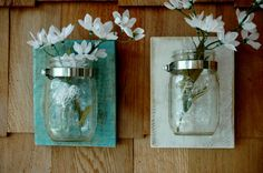 Beach side mason jars mounted on recycled wood by PineknobsAndCrickets, $25.00