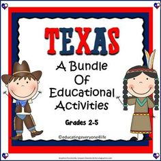 Texas: Bundle A comprehensive unit to use with students while learning about Texas History.  Includes:  Reading, Math, and More! #education #tpt  #texashistory