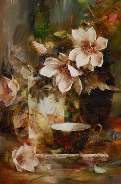Tulip Magnolias by Laura Robb Oil ~ 18 x 12